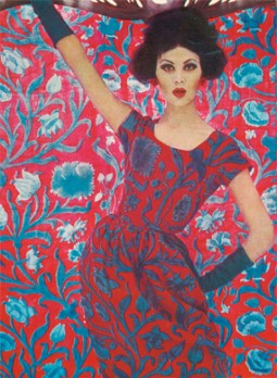 Art Nouveau fashion using 'Constantia', 1961 bij de Liberty expositie