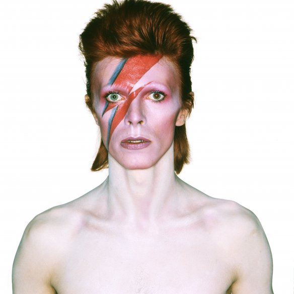 David Bowie on album shoot for Aladdin Sane