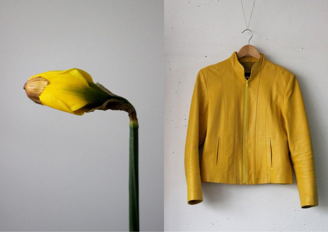 Modarium Geel moodboard 02 geel leren jasje en narcis