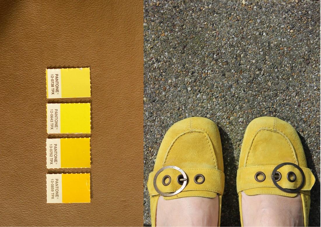 Modarium Geel moodboard 05 goud met pantone kleuren en gele schoentjes