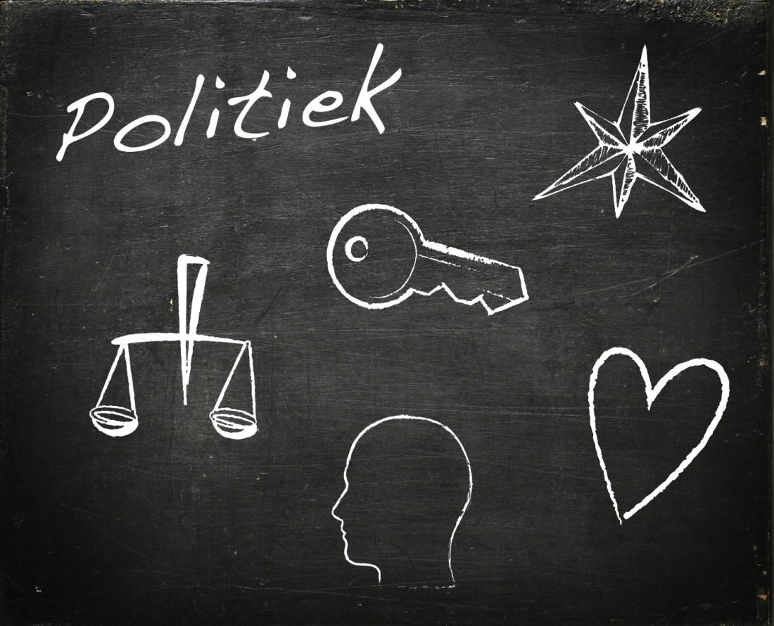modarium schoolbord voor politiek met symbolen