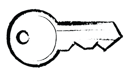 modarium illustratie van een sleutel in zwarte lijn