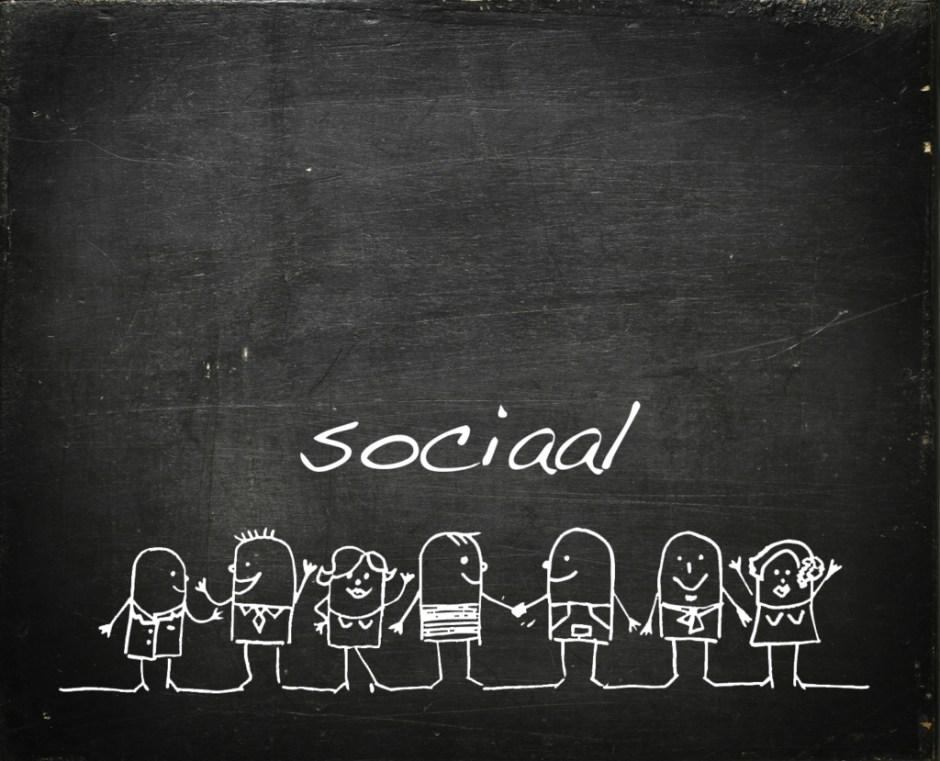 Modarium schoolbord voor sociaal met symbolen bij toekomstscenario sociaal