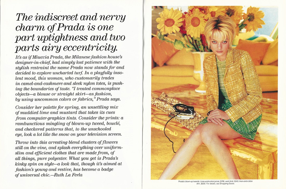 1996 March Elle USA No 127 Spring The Indiscreet Charm of Prada pag 268 en 269 LR