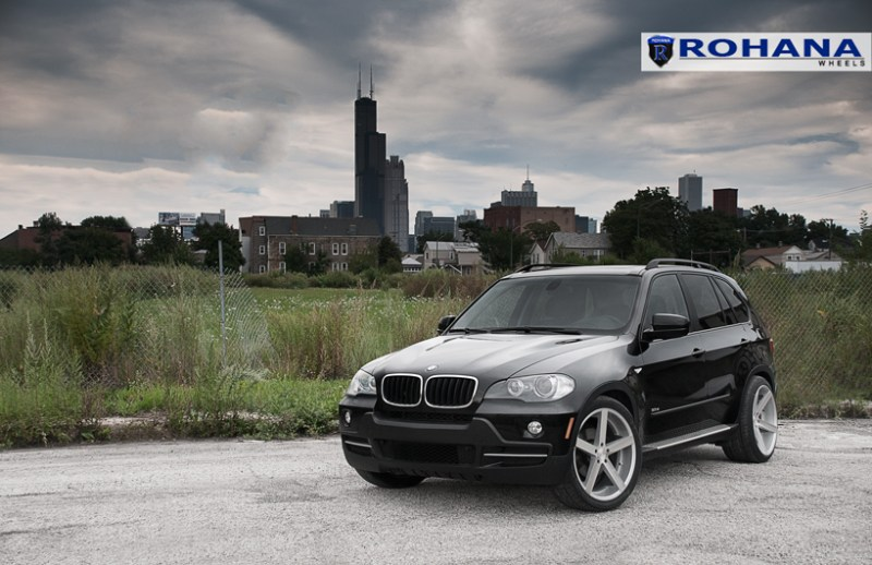 Rohana RC22 Machine Silver 22x9 22x11 On E70 BMW X5