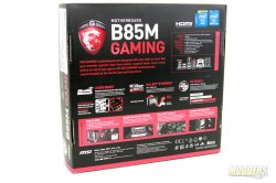 MSI B85M Gaming Motherboard Box Rear