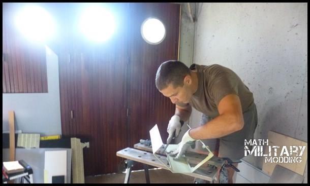 Mathieu at work on the Corsair 760T MARPAT Mod