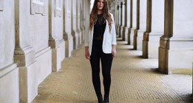 lace body and white blazer