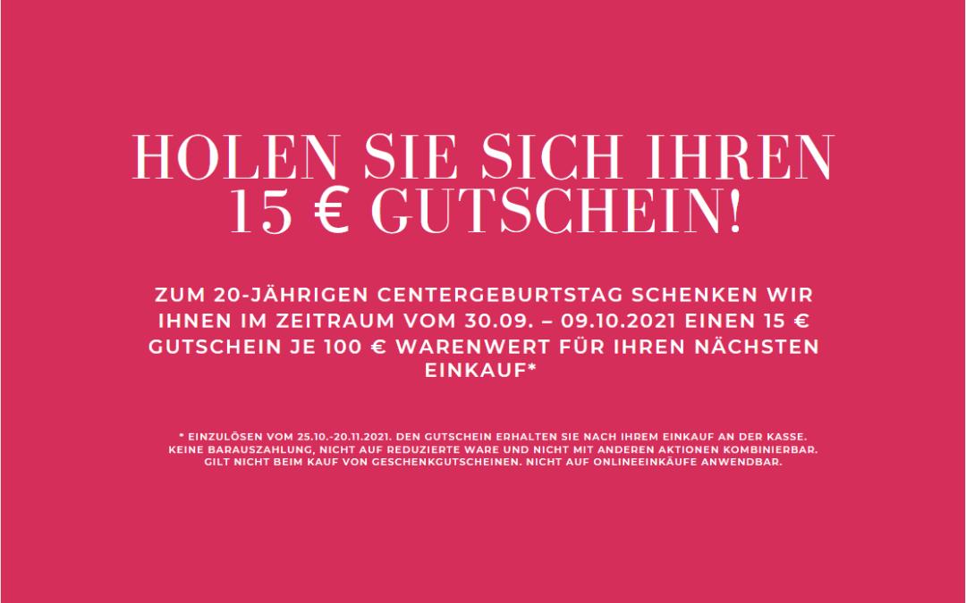 Holen Sie sich Ihren 15 € Gutschein!