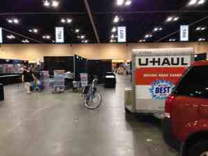 Pulled up to our booth, bike & yarn unpacked!