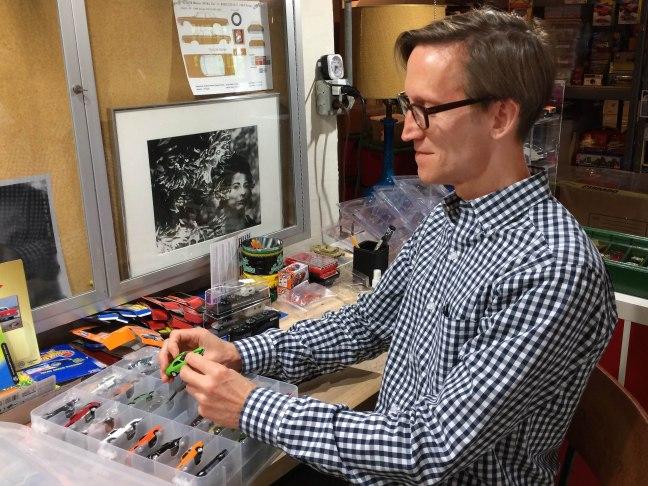 Mac Ragan at his workbench.