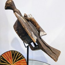"""**ITEM NOW SOLD** African carved wood head dress. Custom steel stand included. 29""""h. 395.-"""