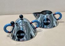 **ITEM NOW SOLD** Alessi: Michael Graves-designed creamer and sugar with lid and spoon. 20 years old, very light use. Current List: $182. set Modele's Price: 85.- set