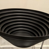 "**ITEM NOW SOLD** Alessi 'Maya' steel bowl. Design by Guilio Confalonieri, 1977. 20 years old, very light use. 10"" dia. x 4'h. 35.-"