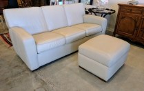 **ITEM NOW SOLD**American Leather sofa and storage ottoman. Approx 9-10 years old. Purchased at the Ralph Hayes showroom at the Seattle design center. Leather 'Bisque'. Original List: approx $4000+.Modele's Price: 1750.-