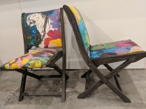 **ITEM NOW SOLD** Pair folding dining chairs, from Anthropologie 4-5 years ago. Current List: $228. Each. Modele's Price: 195. Pr.