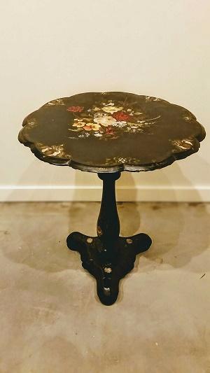 Antique Paper Mache Tilt Top Table.