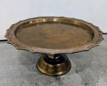 "**ITEM NOW SOLD** Vintage brass footed tray, probably from India. 17""d. x 8""h. 85.-"