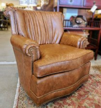 Pair Britt Carter and Co. Chairs. (Signature Collection) Leather Upholstery. Purchased in 2006. Original List: $4876.- Pair. Modele's Price: 1750.- Pair.