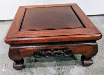 """**ITEM NOW SOLD** Chinese carved wood low pedestal. 12"""" sq. x 6""""h. 95.-"""
