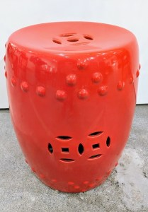 """**ITEM NOW SOLD** Ceramic garden stool, purchased from Seattle Art Museum gift store 5 years ago. 13.5""""d. x 15.75""""h. Orig. List: $160. Modele's Price: 75.-"""