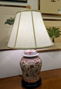 "**ITEM NOW SOLD** Chinese ginger jar lamp with wood base, 3-way switch. 31""h. 295.- each"