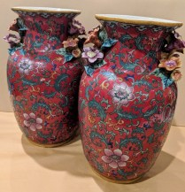 "Two contemporary decorative Chinese vases with floral handles. 12""h. Orig. List: $332. each. Modele's Price: 95. each"