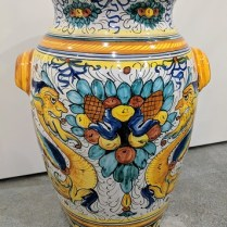 "**ITEM NOW SOLD** Large Deruta jar with handles, from Italy. 20""h. Orig. List: $945. Modele's Price: 250.-"