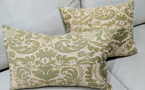 "Fortuny pillows, priced separately. 18"" x 14.5"" and 20"" x 13"". Fortuny on one side only. 125.- each"