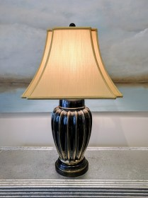 Frederick Cooper Table Lamp. Custom shade was originally $300.-+. Modele's Price: 295.-