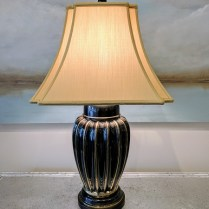 "**ITEM NOW SOLD** Frederick Cooper table lamp; 3-way switch, custom shade, 30.25"" high. 195.-"