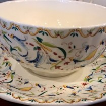 "**ITEM NOW SOLD** Set/6 Gien Breakfast cup with saucer. 10 oz. cup/7"" saucer. Current List: $396. set. Modele's Price: 115. set/6"