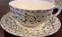 "**ITEM NOW SOLD** Set/4: Gien Breakfast cup/saucer. 10 oz. cup, 7"" dia. saucer (3 sets available). Current List: $264. set. Modele's Price: 85. set"