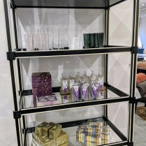 """**ITEM NOW SOLD** Global Views etagere with mirrored shelves. Aprrox. 5 years old. Discontinued style. 32""""w x 18""""d x 78.75""""h. Comparable List: $2500.- Modele's List: 850.-"""