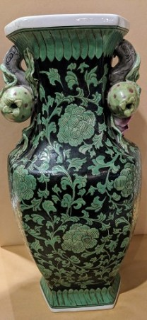 "Contemporary Chinese vase with pomegranate handles. 16""h. 150.-"