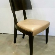 **ITEM NOW SOLD**Gulassa & Co. Straight Leg Dining Chair. Design by David Gulassa. Dark stained walnut and leather solid veneer. 2 available. Original List: $3100.- each. Modele's Price: 495.- each.