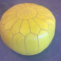 **ITEM NOW SOLD** Jonathan Adler yellow leather Moroccan pouf. Discontinued color. Orig. List: $375.- Modele's Price: 150.-