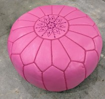 **ITEM NOW SOLD** Jonathan Adler pink leather Moroccan pouf. Discontinued color. Orig. List: $375. Modele's Price: 165.-