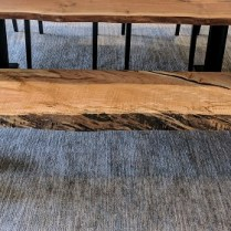**ITEM NOW SOLD**Urban Hardwoods custom maple live edge bench. Less than a year old. Original Price: $1975.-Modele's Price: 1350.-