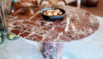 **ITEM NOW SOLD**Marble Pedestal Table. 12-15 years old. Made in Italy.Top is separate from base. 695.-