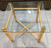 """McGuire occasional table, approx. 25 yrs. old. Natural finish, thick glass top and brass caps. 27""""sq. x 20.75""""h. 395.- (a second table is also available without glass top for 195.-)"""