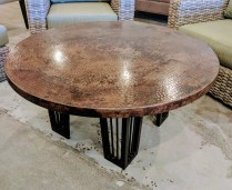 **ITEM NOW SOLD**Ow Lee Outdoor Coffee table. Purchased in 201 at Rich's. Hammered copper top. Cover included. Original List: $1591.-Modele's Price: 750.-