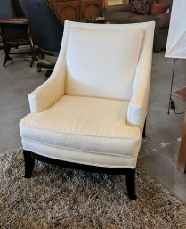 **ITEM NOW SOLD** Pair Vanguard lounge chairs. Design by Michael Weiss. Purchased in 2008. Fabric: Trinity Bisque. Just cleaned at Emmanuel's. 1100.-/pair