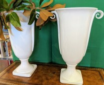 "**ITEM NOW SOLD** Pair tall ceramic white vases. Purchased from GR Home 2 years ago. 22.5"" h. Orig. List: $700. Pair. Modele's Price: 375.- Pair"