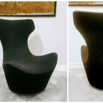 ** ITEM NOW SOLD.**B&B Italia Grand Papillio lounge chair. Swil. Wool felt cover. Current List over $4000.-.Modele's Price: 1195.-