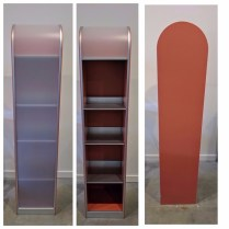 **ITEM NOW SOLD*Pastoe storage cabinet.15-20 years old. MDF w/ lacquer finish. Full tambour door with 3 adjustable shelves. Made in the Netherlands.495.-