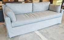 **ITEM NOW SOLD**Restoration hardware Belgian track arm sofa. Linen slip cover. 1495.-