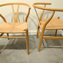 """**ITEM NOW SOLD** Set/10 """"Wishbone"""" chairs by Carl Hansen & Son. Design by Hans J. Wegner. Purchased at Egbert's in 1997, beautiful condition! White oak frames and natural papercord seats. Current list: $695. each ($6950.-). Modele's Price: 3950. set/10"""