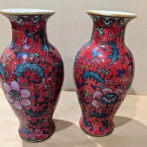 """**ITEMS NOW SOLD** Two contemporary decorative Chinese vases. 8.25"""" h. Orig. List: $192. each. Sold separately. Modele's Price: 25. each"""
