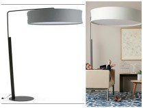 **ITEM NOW SOLD**Turnstone Campfire Big Lamp by Steelecase. (2 available) Platinum metallic steel frame/base. Polyester shade in 'Nickel'. Current List.: $1058.- Modele's Price: 475.-